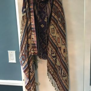 Raj / Free People sleeveless fringed long vest